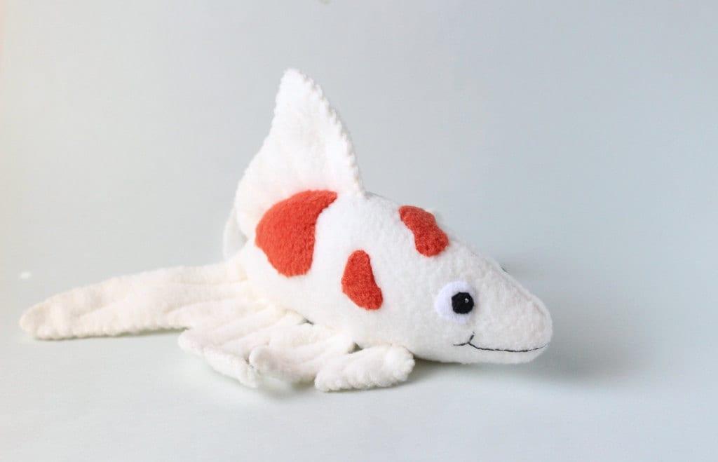Kawaii fish stuffed animal red and white plush koi fish for Fish stuffed animals