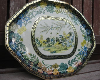 Serving tray metal large Daher blue gold roosters