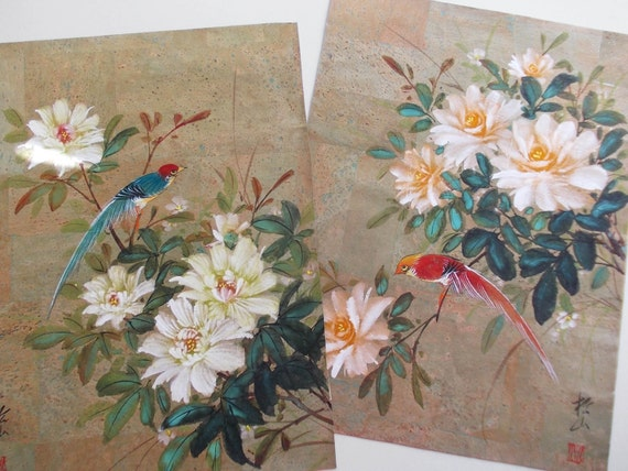 1960s Chinoiserie Bird and Flower Paintings