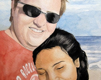 Couple Gift 11X15 Watercolor Portrait Wedding Engagement Anniversary 16X20 White Mat Included Ready for Framing