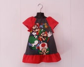 Upcycled Girls toddler cartoon Super Mario peasant dress made from men's t-shirt 4t 5t