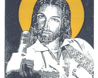 Jesus Cash Screen Print  by Print Mafia - Johnny Cash