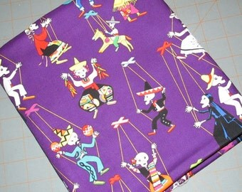 Alexander Henry - cotton fabric - Muertos - puppeteers - purple - skeletons - day of the dead