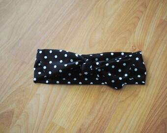Retro Black & white polka dot womens headband wrap
