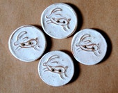 4 Handmade Stoneware Buttons -  Leaping Hare Buttons