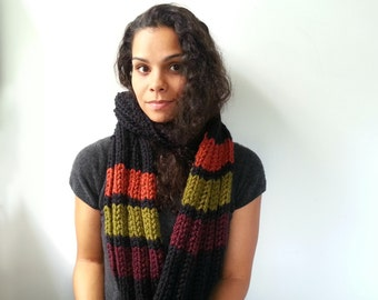 Striped Scarf. Chunky Handknit in Ribbed Pattern. Rust, Olive, Wine.