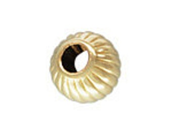 10 Pieces 3mm 14K GF Gold Filled 3mm Corrugated Fluted Bead 1.4mm Hole 71028