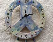 Peace Sign Wall Clock Ceramic Peace Sign Wall art Peace Sign Wall Decor Hippie Woodstock Home Decor