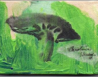 Original Mixed Media Mushroom Miniature Painting On Easel