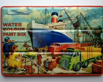 Large Vintage Tin Water Colour Paint Box Litho Ship Yard Scene Page London  Ship in Harbor Made in England