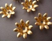 Flower Stampings - Bead Caps - Brass Floral Flower (6)
