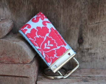 READY To Ship-MINI-MINI Keychain-Coral Damask On Blue