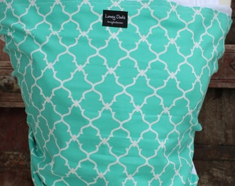 Baby Sling-ORGANIC COTTON Baby Wrap-Teal Lattice On White-DvD Included-One Size Fits All-Newborn-Toddler