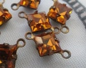 Golden Topaz Vintage Swarovski Square 6x6mm Glass Brass Ox Connectors Two Loops 6 Pcs