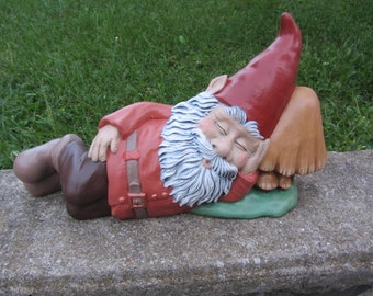 Gnome Statue - Sleeping Gnome - Yard Art - Garden Decor - Outdoor Decor - Gift for Dad - Garden Gnome Statue - Gnome Figurine - Fathers Day