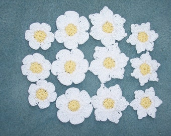 12 handmade yellow and white thread crochet flowers  --  164