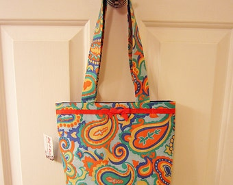 SMALL TOTE BAG 70s Mod Paisley Vintage Fabric Print Purse Handbag light blue