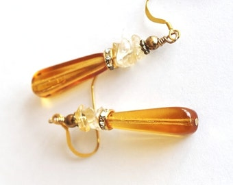 Amber Czech Glass Teardrop Earrings, Golden Topaz Earrings, Citrine Chip Earrings, Long Yellow Earrings
