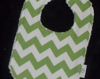 Green Medium Chevron and Chenille Bib