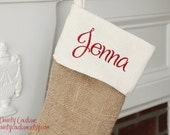 Black Friday Sale!! Burlap Christmas Stocking - Cream and Red detail - Free monogramming