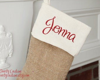 CHRISTMAS in JULY SALE- Burlap Christmas Stocking - Cream and Red detail - Free monogramming