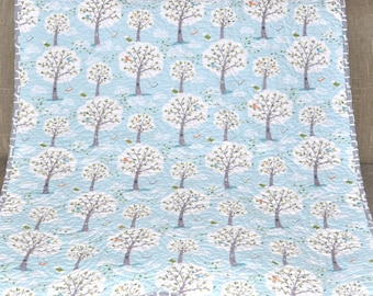 MADE TO ORDER Backyard Baby Gender Neutral Baby Quilt, Windy Day Trees in Aqua Blue, White, Gray, Nursery, Crib, Blanket,  Bedding,