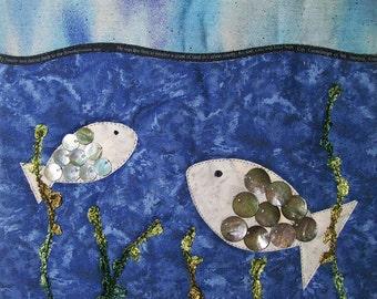 Small Seascape Art Quilt, Fabric Wall Hanging, Fiber Art, Fish