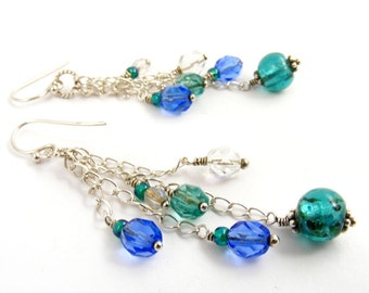 Blue Green Long Dangle Earrings, Aqua Teal Sterling Silver Jewelry, Colorful Shoulder Dusters