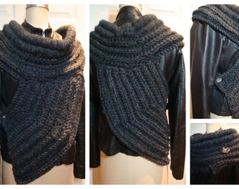 Futuristic Cowl - Catniss Inspired Cowl / Shawl - Scarf Sweater Shawl -Charcoal --Ready to ship