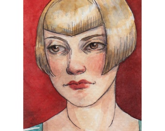 "SALE Original Watercolor Painting ACEO ""I Don't Want to Talk About It"" by Amy Abshier-Reyes"