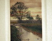 Hand Tinted Photo - lanscape sunset  crepuscule  evening dusk creek tree maybe Wallace Nutting