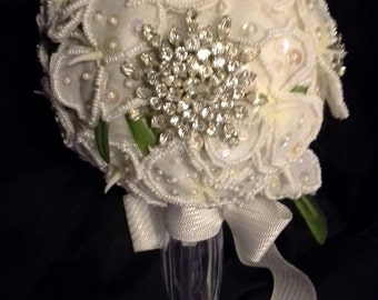 Antique Brooch Wedding  Bouquet Hand Seed Beaded orchids