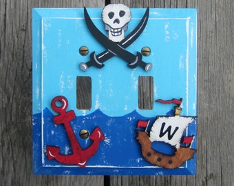 PIRATE SHIP Kids Switch Plate Cover - Hand Painted - Personalized Sail Initial