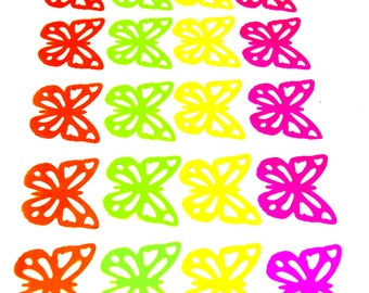 20 Butterfly Die Cuts - Orange, Yellow, Green, Pink