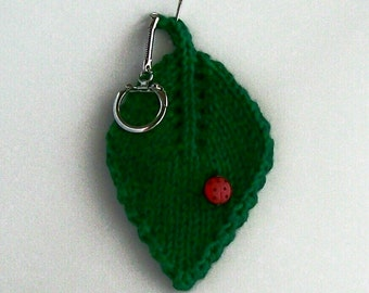 Keychain Hand Knit Lucky Ladybug Ladybird on a Leaf Forest Green Cotton