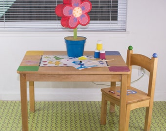 "Splat Mat/Tablecloth ""Green Trains"" - Laminated Cotton BPA  & PVC Free - Choose Your Size below!"