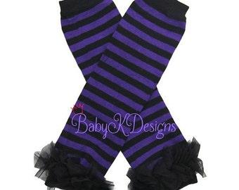 Halloween Candy Stripes Purple or Hot Pink  Black Ruffle Legwarmers. Baby Leg Warmers.Girls Halloween / Goth Monster High Costume Legwarmers