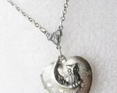 Silver Heart Locket Necklace - Silver Stars Night Owl -  Owl Locket - Starry Night Christmas Wedding Birthday Bridesmaids Gift