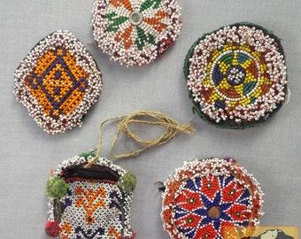 Vintage Tribal Talisman:  Kuchi Beaded Remnant Amulet Set #11