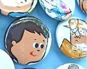 TONY 1962 BuTToN Set . earth friendly ReTRo art . original salvaged  ephemera . One Dozen Pins