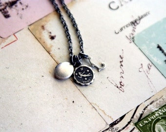 zodiac Initial. locket necklace. choose your initial and zodiac sign for personalization. super tiny oval locket