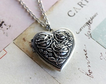 rose heart. locket necklace. silver ox jewelry