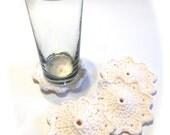 Soft Ecru Crocheted Coasters-Set Of Four