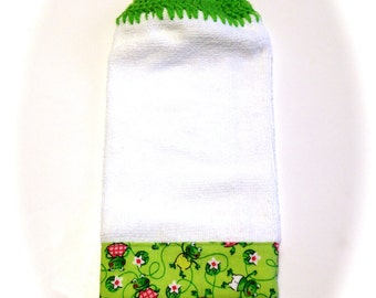 Frog Hand Towel With Spring Green Crocheted Top