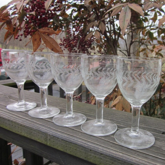Vintage Stemware - Five Etched Glass Cordials/ Aperitifs