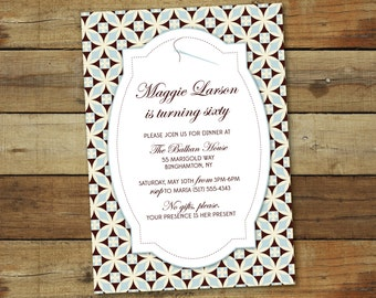 Sewing birthday invitation, quilting invitation - sewing birthday party or baby shower - custom colors
