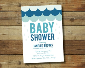 Rain baby shower invitation, rain shower, spring baby shower, baby boy, printable shower invitation