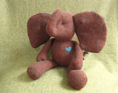 Small Elephant doll upcycled, stuffed animal eco friendly Brown soft fabric doll personalized bubynoa Best Friend