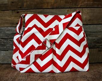 Red Chevron Pleated Handbag / Adjustable Strap / 4 Pockets