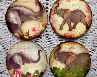 Trunks Up for Luck -- Elephant Mousepad Coaster Set